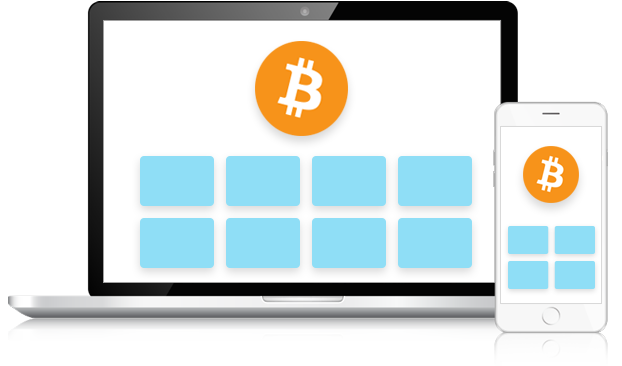 Image of a desktop computer and a mobile device with gift cards and the bitcoin logo on them