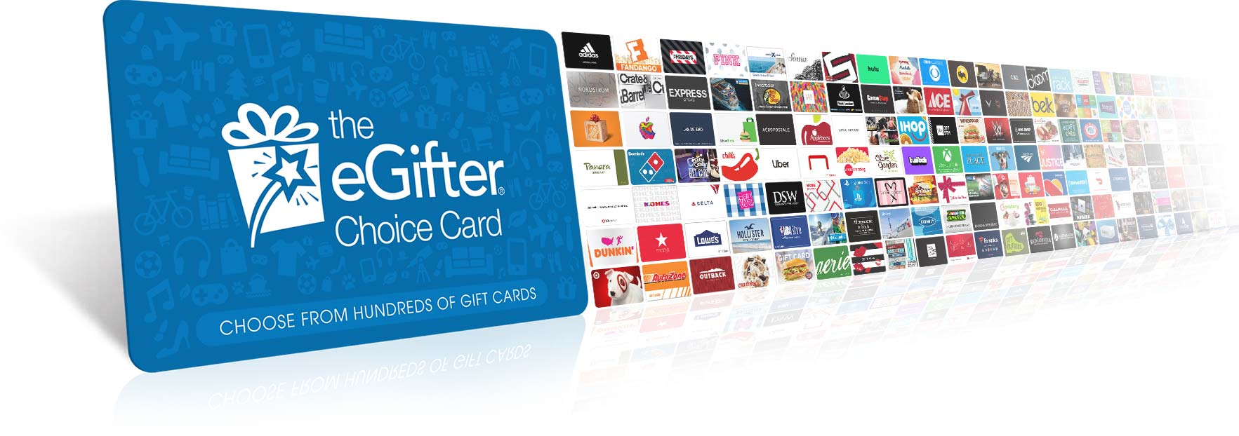 Image of the eGIfter Choice Card with hundreds of smaller gift cards behind it