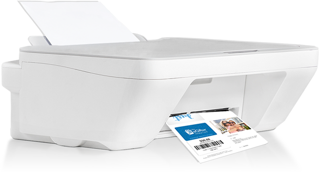 Image of a white printer, printing a greeting card with a gift card in it