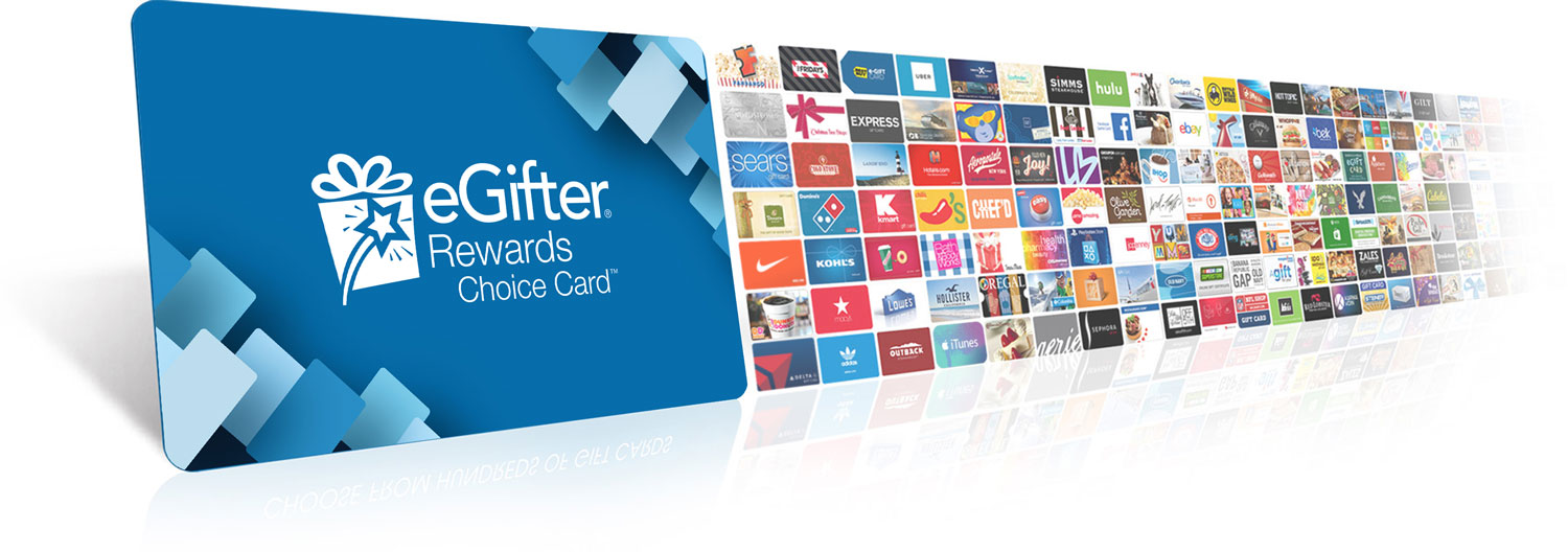 Image of the eGIfter Rewards Choice Card with hundreds of smaller gift cards behind it